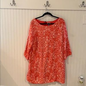 Orange shift dress with nature print